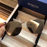 Wholesale Sunglasses Ultralight - New Mykita sunglasses KARLI vintage round frame flap top sunglasses men brand designer ultralight frame without screws women sunglasses