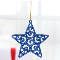 Wholesale Glitter Ball Ornaments - Wholesale-2016 Hanging Balls Hollow Out Glitter Star Christmas Tree Baubles Ball Party Decoration Ornament 6Pcs