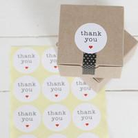 "Wholesale White Paper Envelopes - Thank you circle stickers 1.5"" white paper, envelope seals, stickers 300pcs lot"