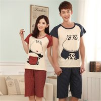 Wholesale Women S Bar Size - Wholesale- Short sleeved pajamas set for Lovers cartoon cool bar bears men &women couples sleepwear Family Casual Home Clothing Plus size