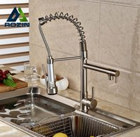 Wholesale Sink Spray Taps - Wholesale- Rozin Brushed Nickel Dual Swivel Spout Kitchen Sink Faucet Pull Down Spring Spray Bathroom Kitchen Mixer Tap Deck Mounted
