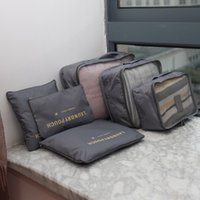 Wholesale Bedding Packs - 6Pcs Waterproof Travel Storage Bags Packing Cube Clothes Pouch Luggage Organizer protect suits from dirt dust damp Free Shipping
