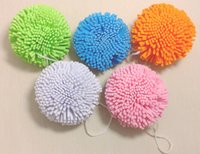 bolas de esponja natural al por mayor-Venta al por mayor- 5Pcs / Lot Candy Color Natural Bath Ball Suave y cómoda esponja de baño Easy Cleaning Bath Flower Sponge