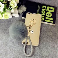 Wholesale Keys Cover Cute - For Samsung galaxy G530 a3 a5 a7 2016 2017 grand prime Pretty Cute Weave fur ball Pompom Key chain mirror case cover