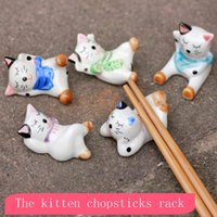 Wholesale Ceramic Flatware - Wholesale- kitten chopsticks rack, lovely cat, ceramic tableware, chopsticks holder, creative tableware, handicrafts, flatware, 5 styles~