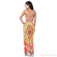 Wholesale Dresses Pattern Totem - 2017 New Summer Dress Totem Patterns Halter Neck Holiday Beach Long Printted Dresses Ladies Casual Vestidos