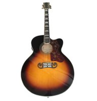 Wholesale china guitar brands resale online - OEM handcrafted inch Jumbo Sunburst color acoustic guitar solid spruce top China made guitars J200