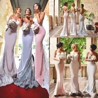 Wholesale Smmer Dresses - 2017 Sexy Long Sweetheart Mermaid Spaghetti Straps Lace Applioques Satin Bridesmaid Dresses Sweep Train Covered Button Smmer