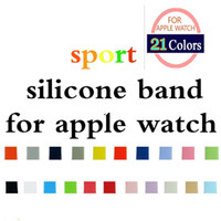 Wholesale Black Replacement Straps - 21 Colors Silicone Sport Band Replacement For Apple Watch Band Wrist Strap With 38  42 mm 100pcs lot