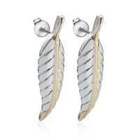Wholesale Beautiful Lady Fashion Dress - Stud Earrings 925 Sterling Silver Party Prom Dresses Beautiful Charm Fashion Jewelry Women Ladies Feather Ear EH000178