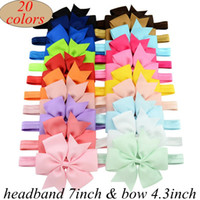 Wholesale Infant Princess Accessories - Girls 4.3Inch Ribbon Bow Headbands Infant Big Bowknot Elastic Hair Accessories Kids Hairbands Infant Princess Headdress 20Colors choose free