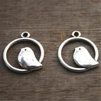 Wholesale Charm Antique Bird - 20pcs-- Bird Charms, Antique Silver Bird in Swing Charm Pendants 20mm