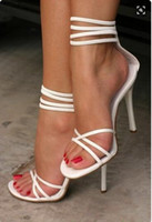 Wholesale Sandals High Lacing - white leather high heels cheap sale sandals for women fashion summer dress high heels shoes