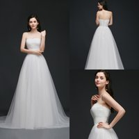 Wholesale Wedding Dresses Soft Elegant - 2018 New Elegant Simple Strapless Garden Wedding Dresses Lace Top Soft Tulle Beach Wedding Gowns Summer Cheap Wedding Gowns Robe CPS762