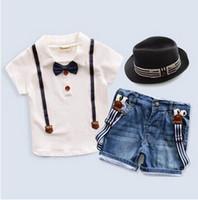 Wholesale Boys Jean Sets - Kids denim outfits fashion children bows lapel short sleeve T-shirt+jean suspender shorts 2pc clothing sets boy summer clothing T3710