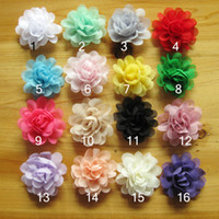 Wholesale Craft Flatback - 200pcs lot 5CM Soft Chic Chiffon Flowers Flatback Flet Flowers for Hair Accessories Craft Flowers DIY Baby Headband