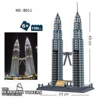 Wholesale Wange Building Blocks - 8011 Petronas Towers of Kuala Lumpur Mould toy World Great Architecture Large Wange Building Blocks Toy Bricks Compatible lepin
