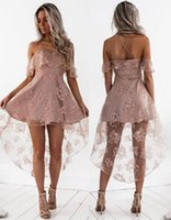 Sexy Spaghetti Strap High-Low Lace Cocktail Dresses Homecoming Party Dresses Особые случаи Платья Vestidos De Coctel