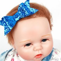 Wholesale Glitter Clips - Baby Girls Bow Clips Glitter Barrettes Children Bow with Hair alligator clips Shining Bowknot Hairpins Kids Infants Hair Accessories KFJ123