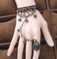 розовое кольцо из кружева с кружевами оптовых-Старинные цветок винограда Кристалл кружева браслеты Лолита ювелирные изделия с розовыми кольцами женщины стильный новый многоцветный рождественский подарок