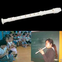 флейта длинная оптовых-White Plastics Instrument 6/9 Отверстия Случайно Корабль Музыкальный Сопрано Рекордер Флейта Длинный Новый Горячий!
