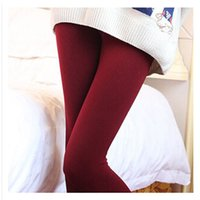 Wholesale Napped Pants - Wholesale- Womens Warm Winter Skinny Slim Leggings Napping Candy Color Nine Pants Charming Hot Sale