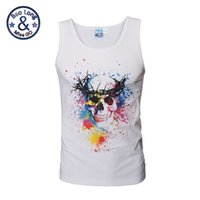Wholesale Make Cute Rings - 2017 summer 3d print cotton made spinou ring skull face printed singlets basketball singlets white color cute running gym singlet t-shirt
