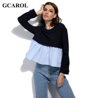 Wholesale Euro Style Blouse - GCAROL 2017 Women Euro Style Two Tone Color Blouse Fashion Casual Spliced Design Cropped Tops High Quality Clothing For 4 Season