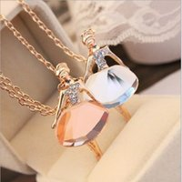 Atacado- New Ladies Girls Fashion Ballet Girl Pendant Chic Choker Bib Crystal Chain Necklace Lovely Jewelry Party 0172