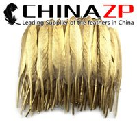 Wholesale led party accessories for sale - Leading Supplier CHINAZP cm inch pieces High quantity Gold Metallic Plume Duck Feather for Carinival Decoration Feather