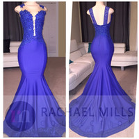 Wholesale Stretchy Lace Dress - Stunning Royal Blue Mermaid Prom Dresses Sheer Jewel Neck with Lace Appliqued Sequins Long Stretchy Train Evening Gowns Robe de soriee