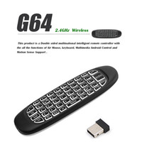 G64 Air Fly Mouse Full Keyboard Classic Double Sided 2.4GHz Wireless Keyboard BackLit Controle remoto para TV Box S905W Consolas de jogos SNES NES