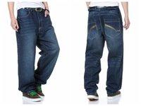 Wholesale Trousers Men Rap - Wholesale- Fashion Hip Hop Mens Loose Baggy Pants Denim Rap Jeans Trousers for Men Skateboard Pants 30-46 FS4956