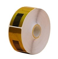 ingrosso carta adesiva acrilica-All'ingrosso- JAVC @ 1 Roll (500pc) Nail Art Guida Adesivo forma adesivo acrilico UV punta punta strumento per unghie Golden Nail Paper