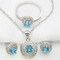 Wholesale Blue Sapphire Ring 925 Silver - Circular sapphire blue women 925 sterling silver jewelry set of silver earrings, pendant, necklace, ring free gift box