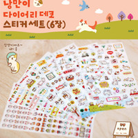 Wholesale Photo Stickers Paper - Wholesale- New Cute Lovely 6 Sheet Cat Paper Stickers for Diary Scrapbook Book Wall Photo Decor Skin DIY*cartoon