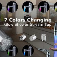 Wholesale Led Light Shower Heads - 2017 New Fashion LED Water Faucet Light Colorful Changing Glow Shower Head Kitchen Tap Aerators 7 Colors Available Top Quality