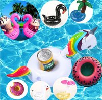 Wholesale Wholesale Pool Supply - New Inflatable Flamingo Drinks Cup Holder Pool Floats Bar Coasters Floatation Devices Children Bath Toy Water Party Supplies IC525