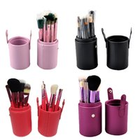 Wholesale Brow Bag - 12 pcs set Professional Makeup Brush Tools Set Leather Barrel Bag Cosmetic Powder Eye Shadow Brow Eyeliner Make Up Brushes Kit 0605005
