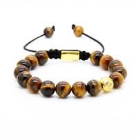 Wholesale Shamballa Gold Plated Beads - New Wholesale Men's Gold Plated Clear Cz With 10mm Tiger Eye Stone Beads Shamballa Braiding Bracelet