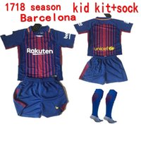 Wholesale Children S Cotton Socks - 2017 Barcelone child 2018 THAI SURVETEMENT TOP Barcellona baby MESSIS SOCCER JERSEY Barcelonaes 17 18 HOME RED AWAY PURPLE kid SHIRT+ SOCK
