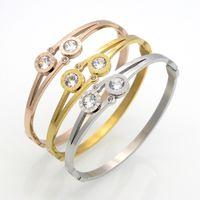 Wholesale Titanium Bracelet Singapore - Roman Numerals Titanium Steel Bracelet For Women Gift Fine Jewelry Inlay Crystal Bracelets & Bangles pulseiras Top Quality