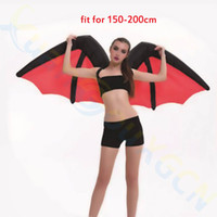 Wholesale Adult Rainbow Costume - Halloween adult kids cosplay rainbow wings inflatable Costume Onesie Bar Stage wear School Party bat wings inflatable Mascot clothes costume