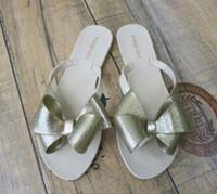 Wholesale Rubber Flip Flop Bow - top quality 2017 Melissa jelly Harmonic Bow shoes sandals Flip Flops bowknot flip-flops female free shipping