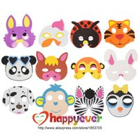 Wholesale Dress Up Costumes For Kids - Wholesale-12PCS Assorted EVA Foam Animal Masks for Kids Birthday Party Favors Dress Up Costume Zoo Jungle Party Supplies