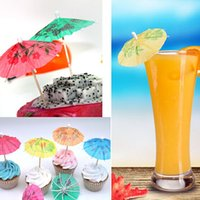 Wholesale Cocktail Parasols Umbrella Stand Party Frilled Sandwich Appetizer Cocktails Picks Party Supplies Plates Cake Fruit Pick Paper Umbrellas