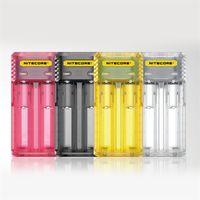 ingrosso caricabatterie 2a-100% originale Nitecore Q2 2-Slot 2A caricatore rapido Intellicharger caricatore universale E Cig per 18650 26650 batteria agli ioni di litio IMR