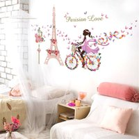Wholesale Bike Stickers For Wall - Eco Removable Flower Fairy Riding Bike Removable Wall Sticker Creative Art Mural Home Decor Adhesivo de Pared Bedroom Decoration 60x90cm pc