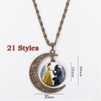 Wholesale Kids Animal Necklaces - Beauty and the Beast Pendant Necklace Rose Necklace Moon Pendant For Women and Big Kids Charm Necklace Fairytale LA424