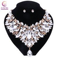 Wholesale Tibet Jewelry For Sale - Boho White Crystal With Earrings 2017 Statement Necklace Women Jewelry Sets For Party Wedding Hot Sale Trendy Necklace